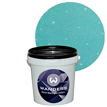 Türkis Wandfarbe wanders24 glimmer optik 1 liter silber türkis glitzer wandfarbe