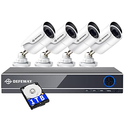 DEFEWAY Camara de Seguridad 8 Canales DVR 1TB HDD + 4 x 1080P 2.MP