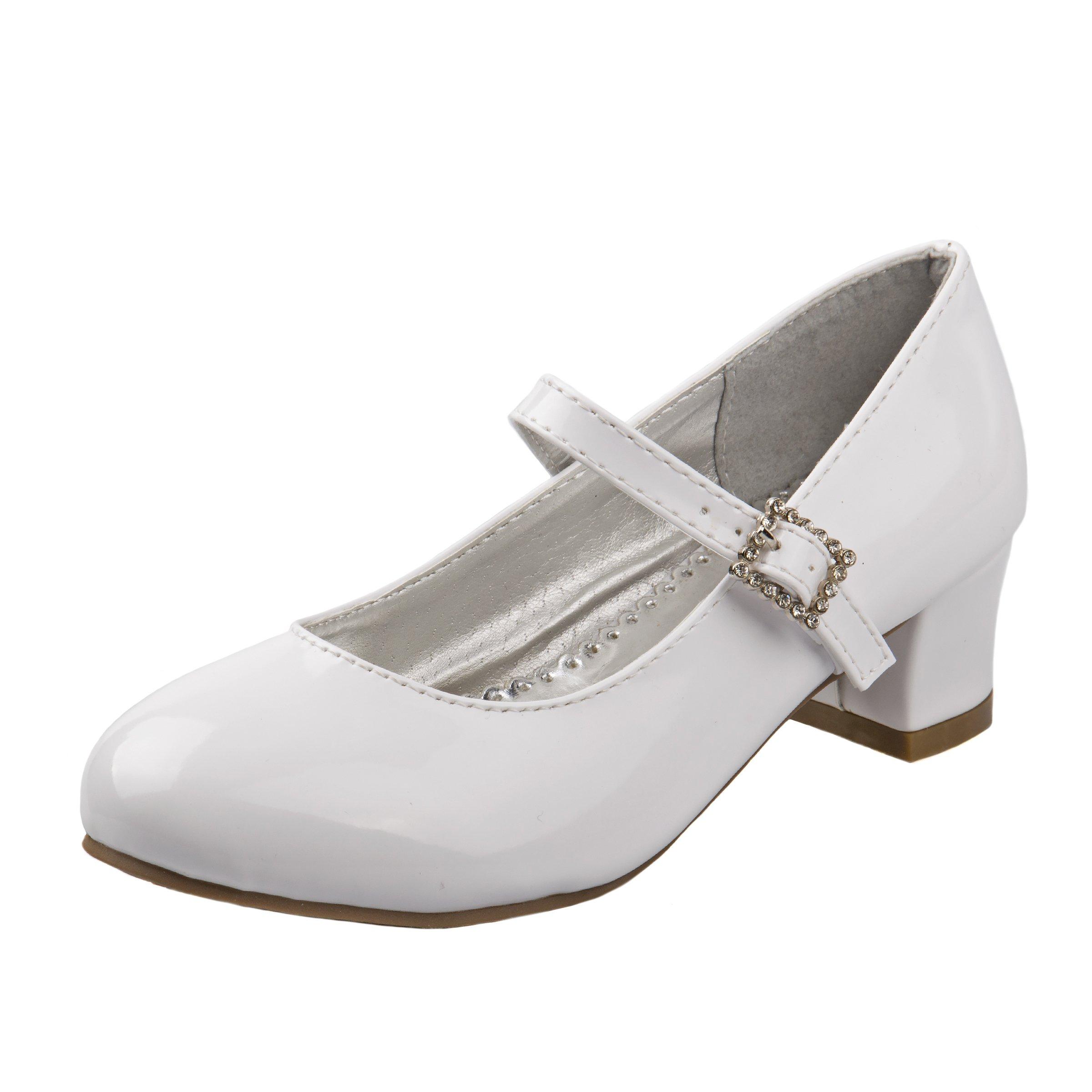 Josmo Girl's Heel Patent Dress Shoes, White Patent, 3 M US Big Kid'