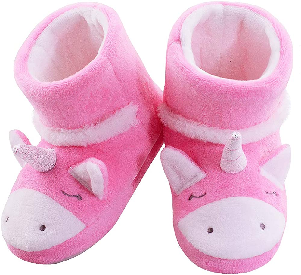 LA PLAGE Girls Unicorn Bootie Slippers Warm Plush Comfy Bedroom Slippers Boots Toddler//Little Kid