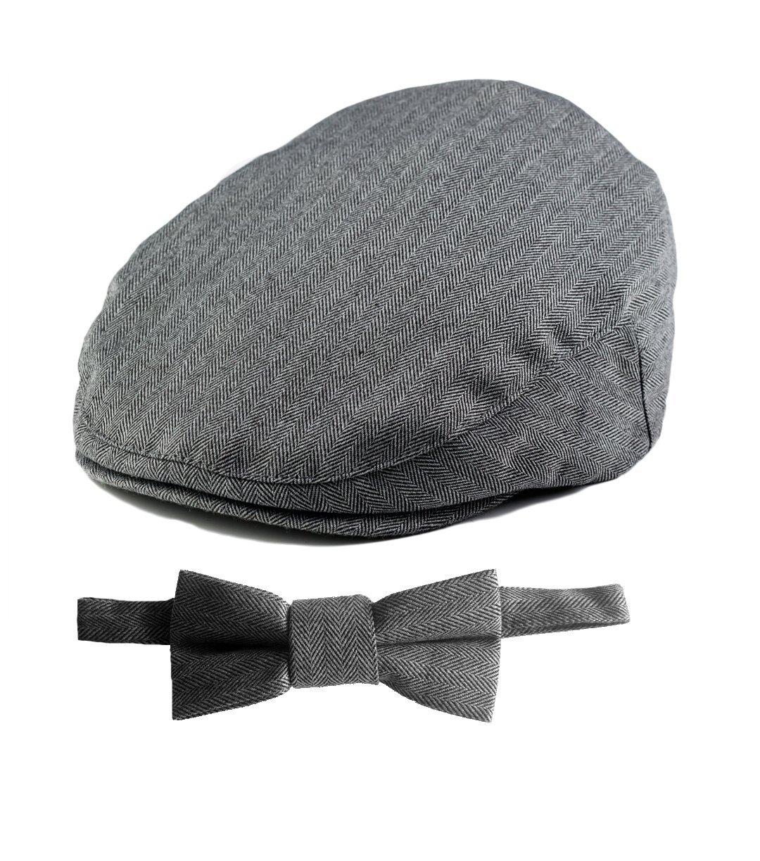 Born to Love Baby Boy's Hat Grey Herringbone Driver Page Boy Cap (XS 49 cm, gray with bow)