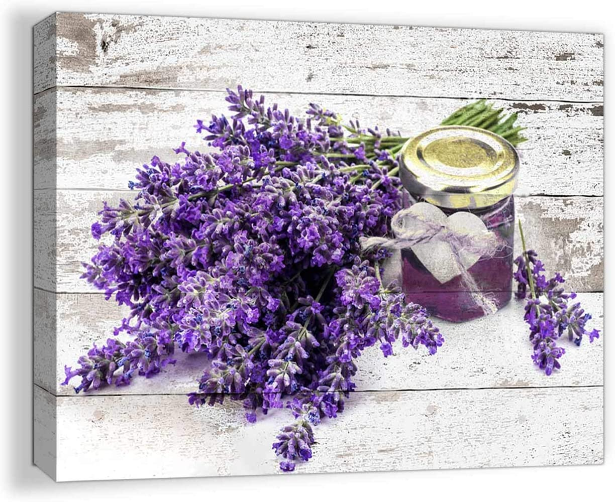 Bathrooms Purple Lavender Pictures Wall Decor Artwork for Wall Bathroom Decor Wall Art Modern Home Decor Bedroom Art Girls Flowers Wall Decor Rustic Canvas Framed Kitchen Wall Decoration Size 12x16