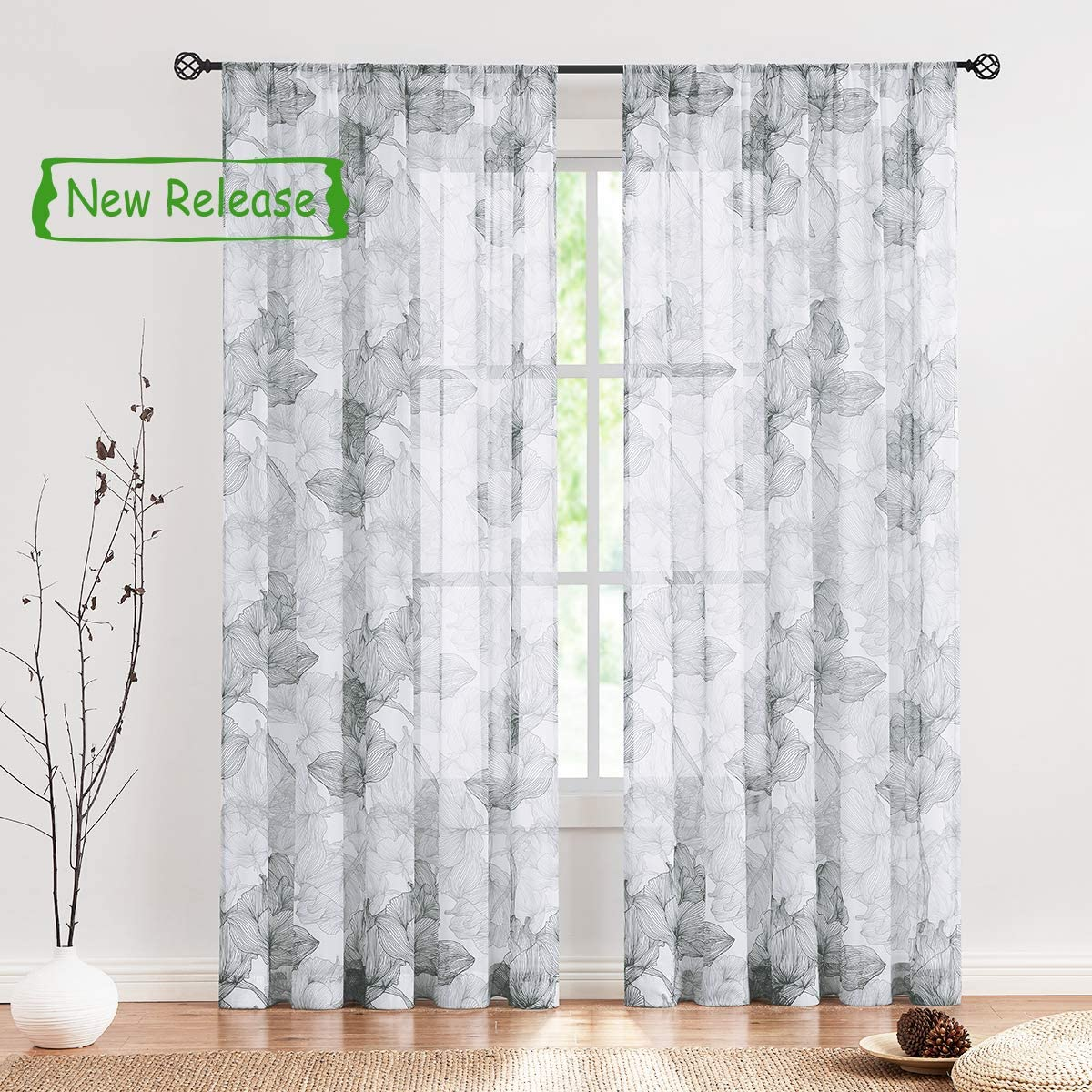 Treatmentex Floral Sheer Curtain Drapes for Living-Room Grey on White Floral Botanical Bedroom Semi Sheers Chiffon 95 inches Lotus Leaves Print Curtain Panels for Studio Yard Patio 2pcs