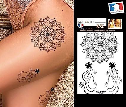 Tattoo ID - 1 tatuaje XXL (22 x 14,5 cm) temporal de Mandala ...