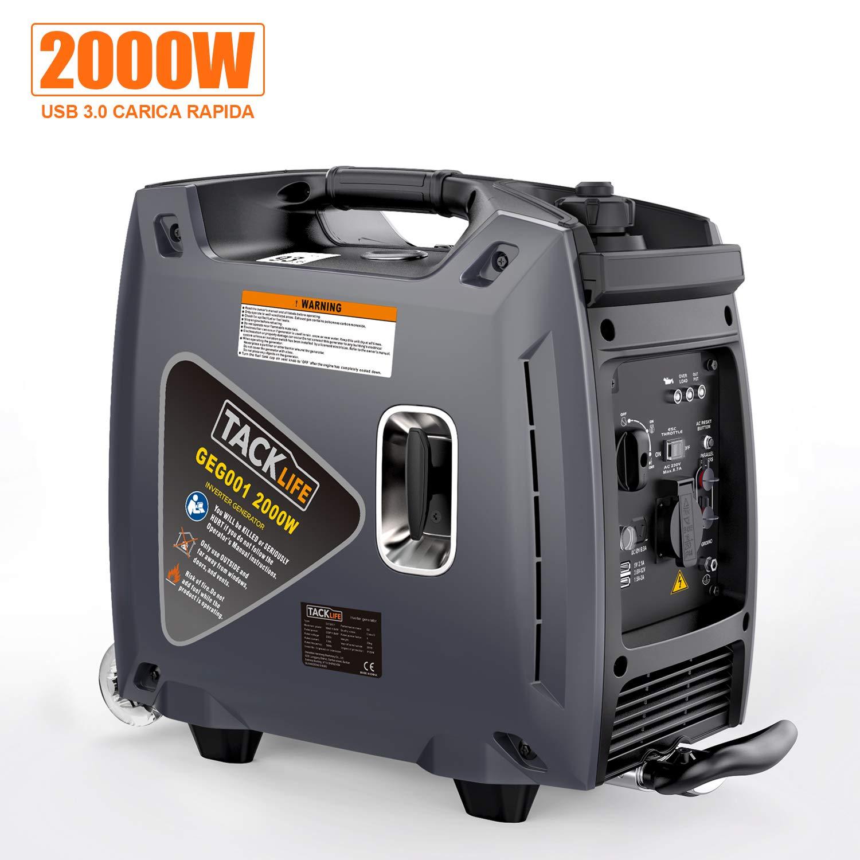 TACKLIFE Generatore di Benzina Silenziosa, 2000W, Inverdeer Portatile a Bassa Potenza, USB 3.0, Design della Struttura del Trolley, Nero, Durante da 3.5 a 6 Ore -GEG001