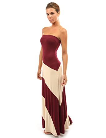 26dc4d5d730f PattyBoutik Women s Striped Tube Maxi Dress (Burgundy and Champagne ...