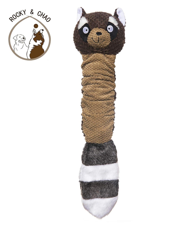Rocky /& Chao Peluche Squeaky Juguetes Animales Ardilla Raccoon Indestructible Interactivo Juguetes para Perros