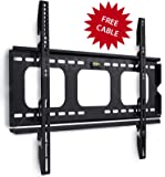 Mount-It! Low Profile Fixed TV Wall Mount Bracket for 32, 34, 37, 39, 40, 42, 47, 48, 49, 50, 52, 55, 60 Inch Flat Screen TVs, Ultra Slim Design with 175 Lbs Capacity Max VESA 750x450 6 ft HDMI cable