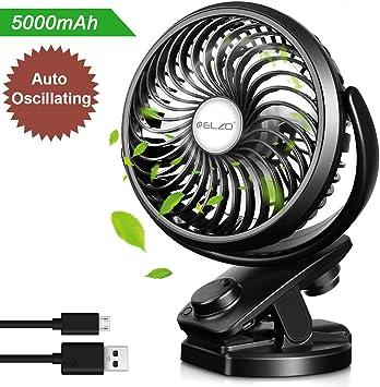 ELZO Ventilador USB, Mini Ventilador Clip Ventilador 5000mAh ...