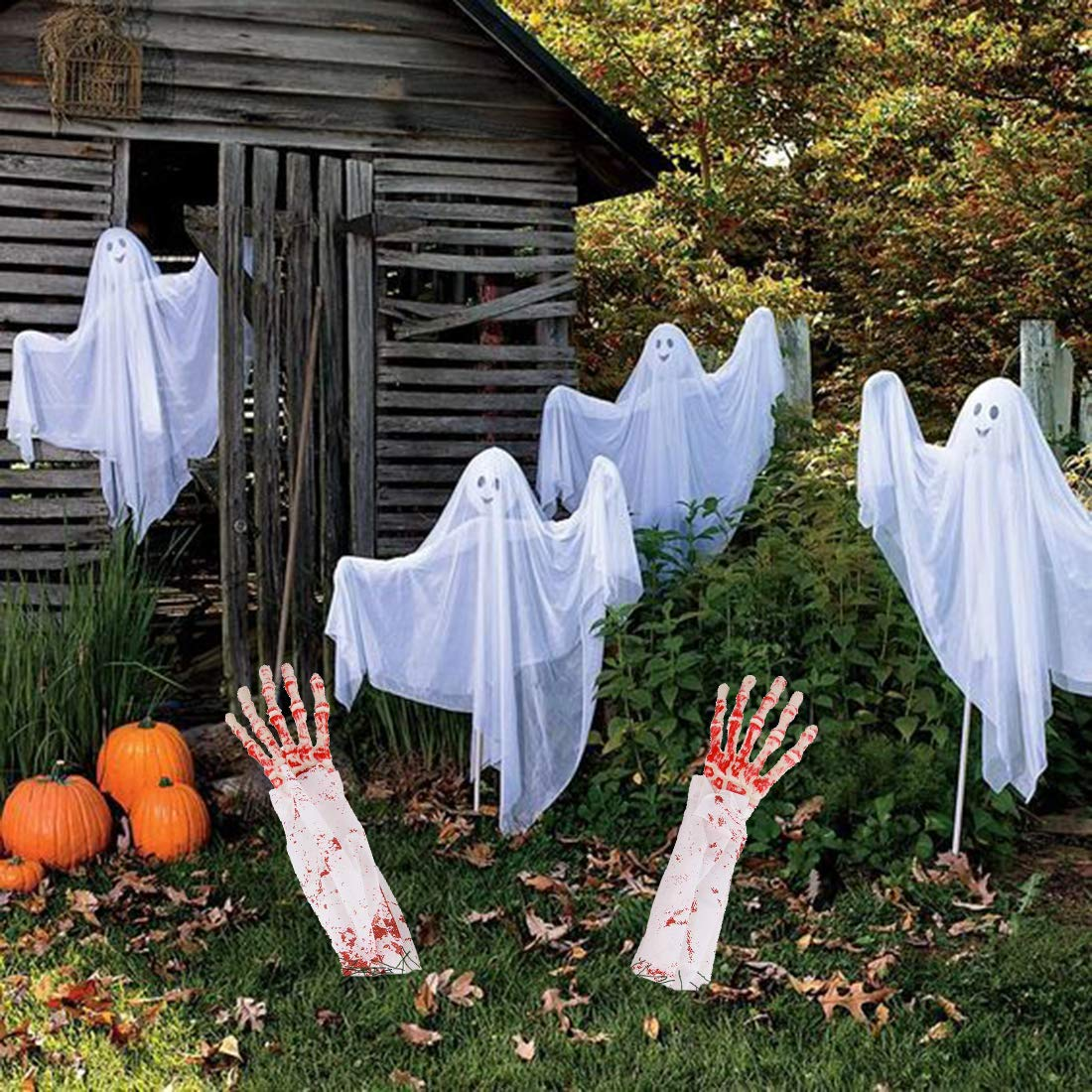 Yamonic Halloween Zombie Hands and Arms Zombie Lawn Stakes Bloody Arm Lawn Halloween Yard Stakes, Groundbreakers for Halloween Yard Decorations (White)