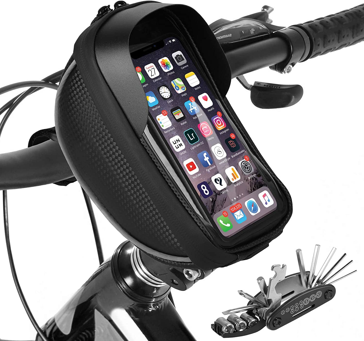 Bike Phone Mount Bag Bicycle Handlebar Bag, Waterproof Bike Front Frame Top Tube Bag with Multi-Function Bike Repair Tool Kits, Sports Bike Cycling Storage Bag Phone Holder Case with TPU Touch Screen