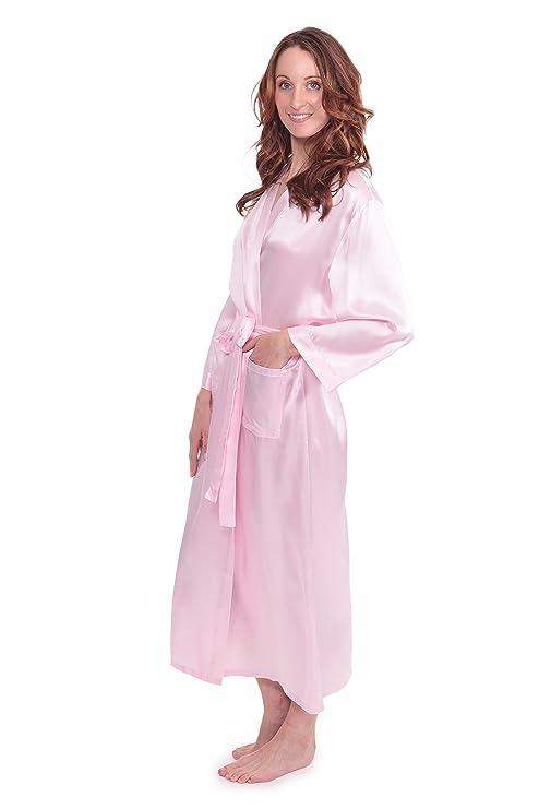 f036848c7d TexereSilk Women s 100% Long Silk Robe - Luxury Bathrobe (Perla Naturale)  at Amazon Women s Clothing store
