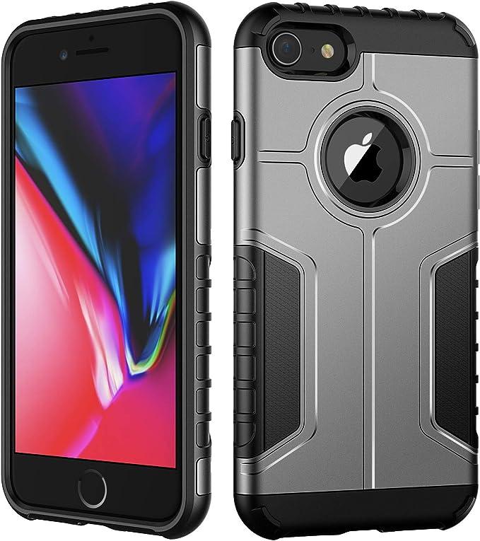 JETech Coque Compatible avec iPhone 8 et iPhone 7, Housse Double Protection avec Shock-Absorption, Antichoc, Argent
