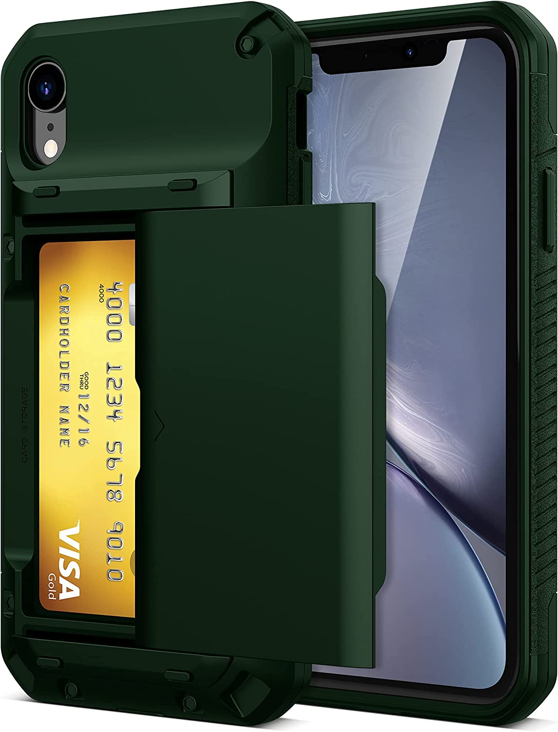 TITACUTE Compatible with iPhone XR Case Wallet 4 Credit Card Holder Slot Sliding Cover Back Pocket Dual Layer Drop Resistant Heavy Duty Full-Body Protection Hybrid Bumper Case for iPhone XR Army Green