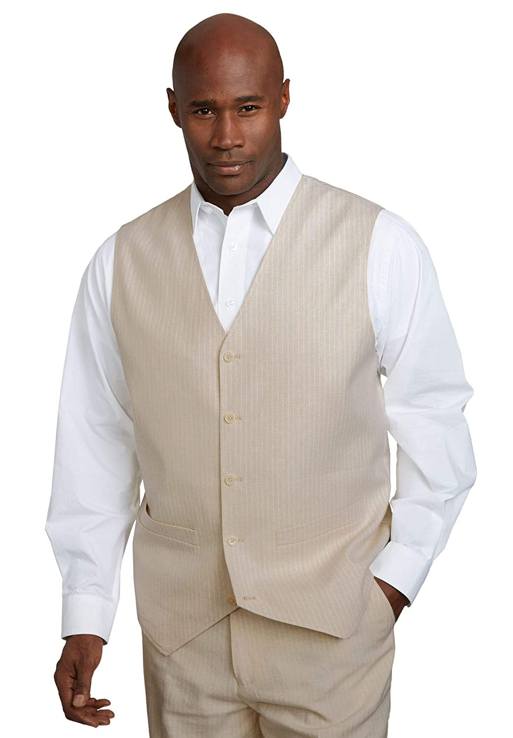 1920s Style Mens Vests KS Island Mens Big & Tall Linen Blend 5 Button Suit Vest $109.99 AT vintagedancer.com