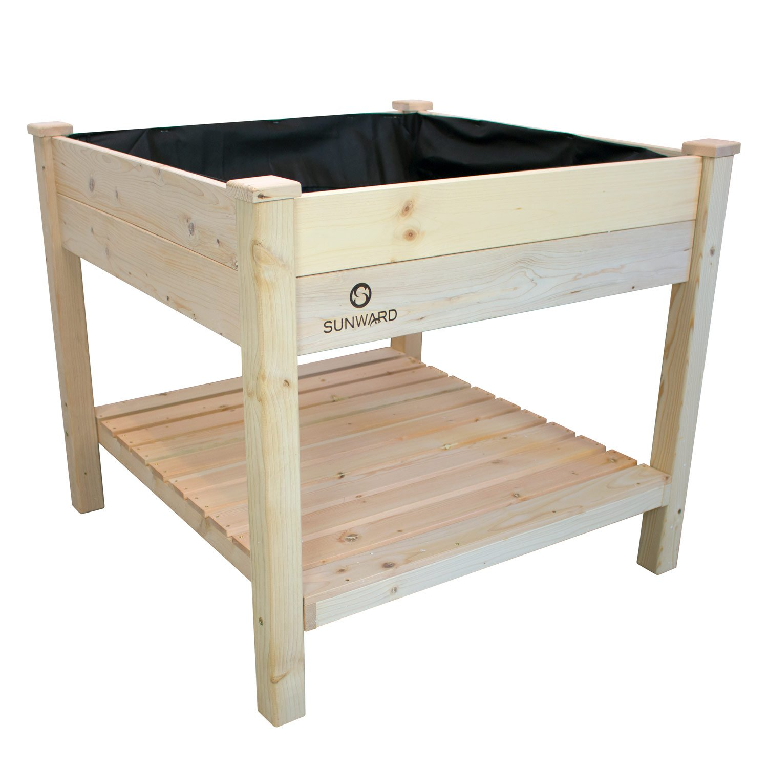 Sunward Patio Raised Garden Bed Kit / 36'' x 36'' Toolless Construction For Easy Assembly / Perfect For Summer Gardening!