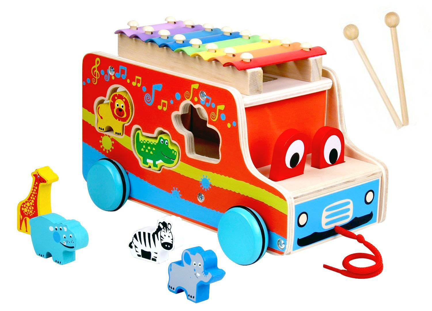 Pull Along Xylophone, Baby Push Pull Mallets Instrument Vehicle, Wooden Bus Toy, 3D Animal Shape Sorter Puzzle Gift, Educational Learning Toys for 1, 2, 3, 4 Year Olds Baby, Infants, Kids, Toddlers