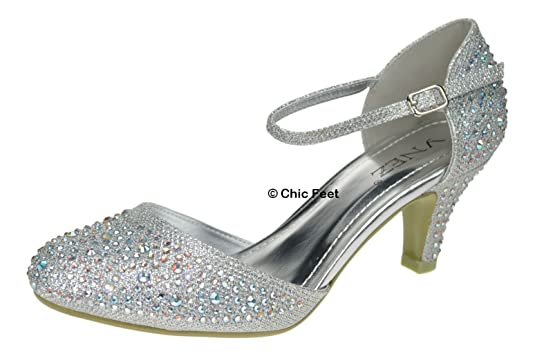 6d1fcad6bb28e5 Chic Feet Ladies Womens Silver Or Gold Glitter Womens Party Diamante  Evening Wedding Bridal Prom Mary Jane Low Heel Shoes   Matching Bag   Amazon.co.uk  ...