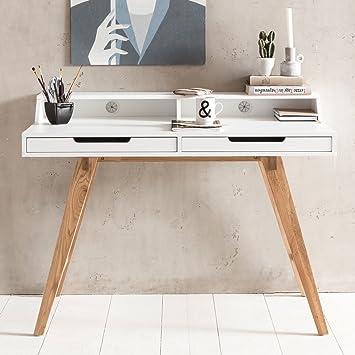 FineBuy Schreibtisch SCANDI 110 X 85 X 60 Cm MDF Holz Skandinavisch Weiß  Matt Arbeitstisch