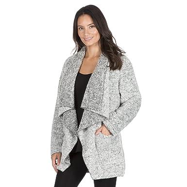 b6e98f42f76 Forever Dreaming Womens Long Sleeve Snuggle Fleece Waterfall Lounge Cardigan  Black Small
