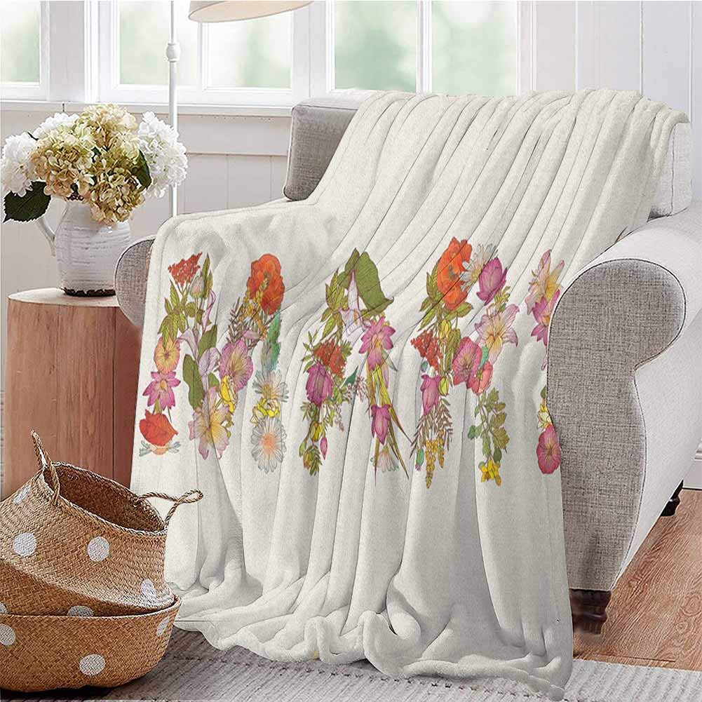 Luoiaax Mary Children's Blanket Blossoming Flowers with Daisies Roses and Poppies Traditional Well Known Girl Name Lightweight Soft Warm and Comfortable W60 x L70 Inch Multicolor by Luoiaax