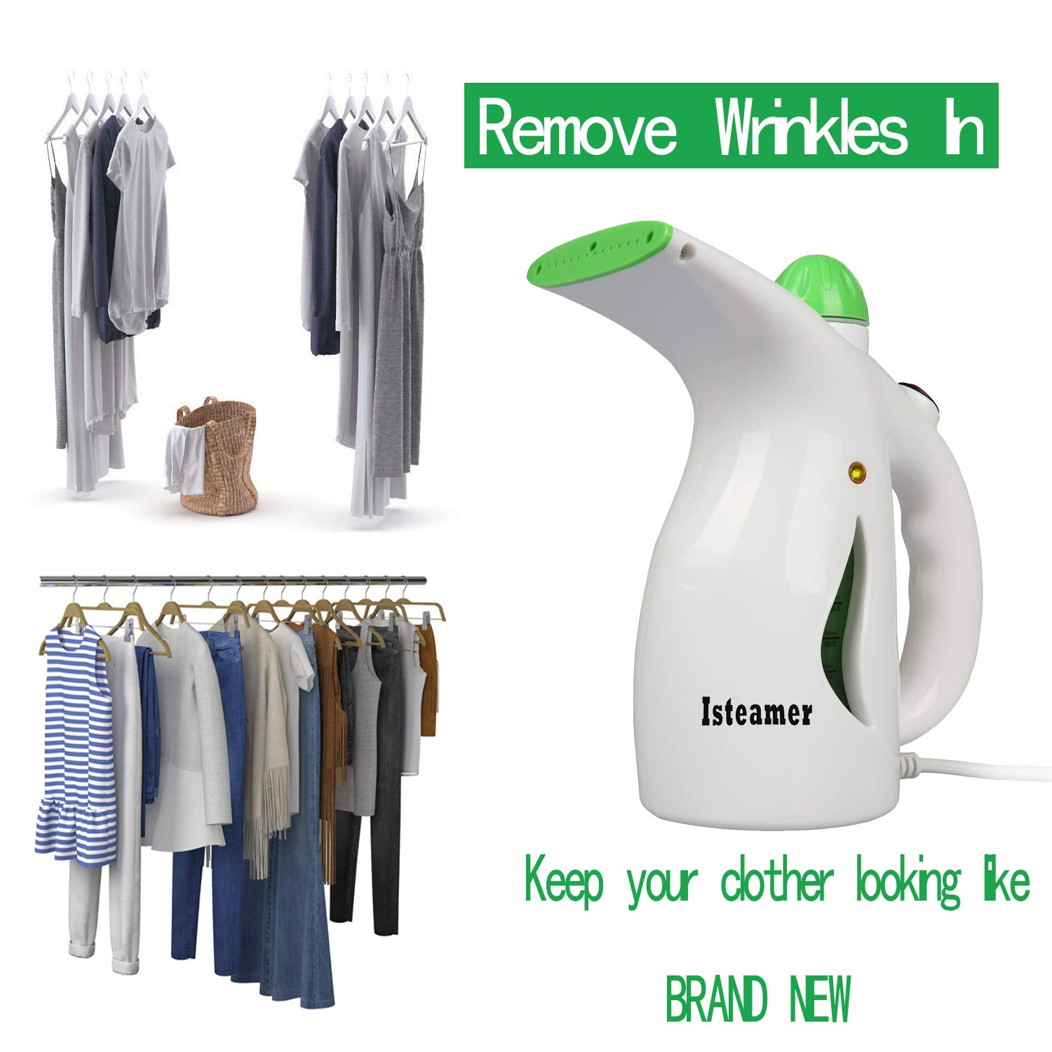 Compact-Travel//Home. Handheld Travel Iron Steamer Wrinkle Remover for Clothes Garment Fabric Steamer Clean Sterilize with Free Travel Hanger and Soft Fabric 4-in-1 Powerful Iron Steamer Portable