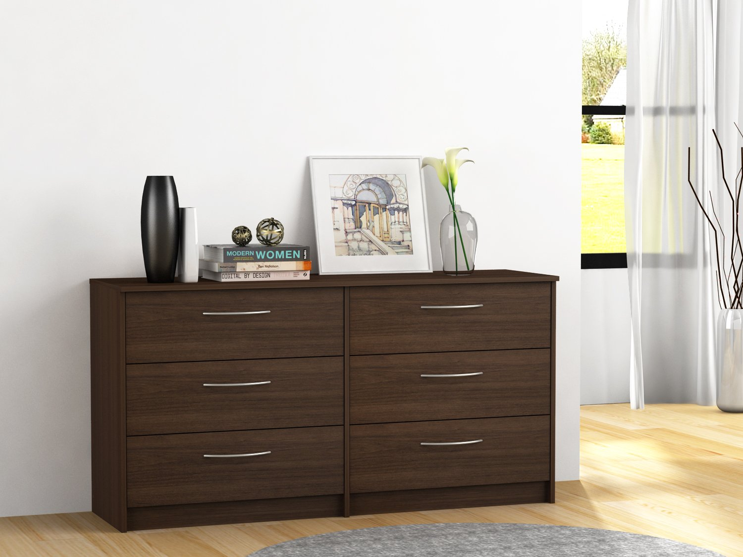 Homestar Finch 6 Drawer Dresser, 54.5