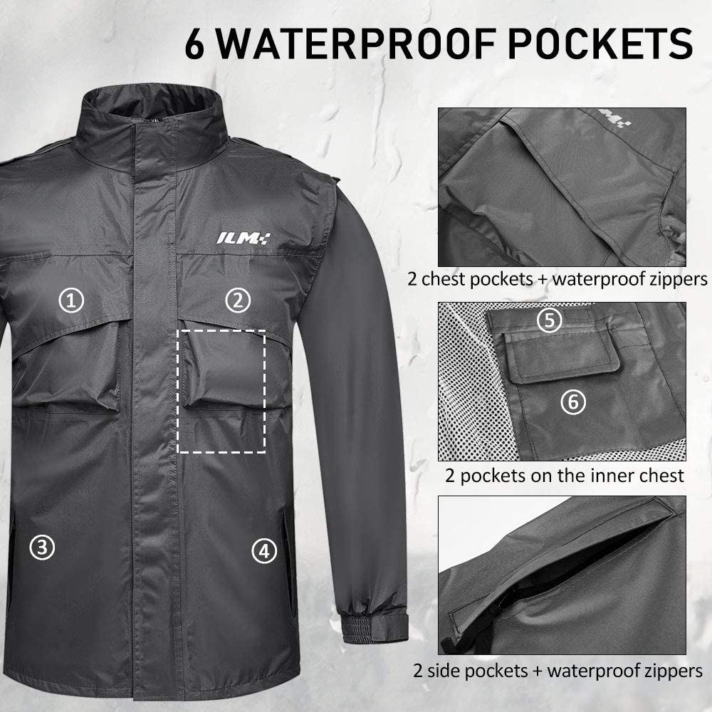 ILM Motorcycle Rain Suit Waterproof Wear Resistant 6 Pockets 2 Piece Set with Jacket and Pants Fits Men Women Mens X-Large, Navy Blue