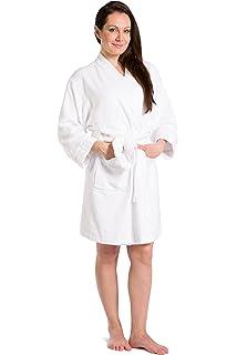 1fb8f2315b Fishers Finery Women s Ecofabric Terry Bathrobe  Kimono Style  Front  Pockets White