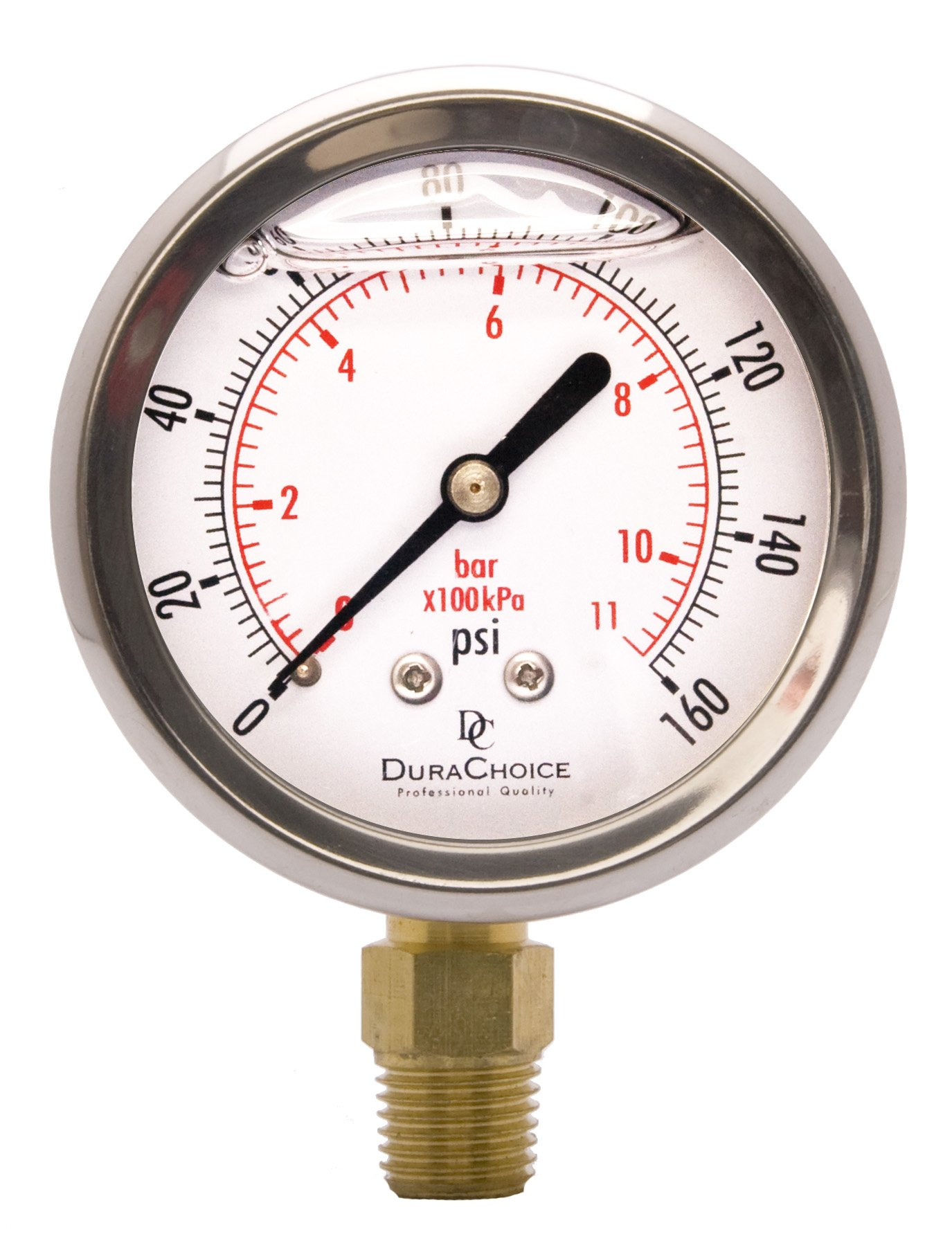 2-1/2'' Oil Filled Pressure Gauge - Stainless Steel Case, Brass, 1/4'' NPT, Lower Mount Connection 0-160PSI