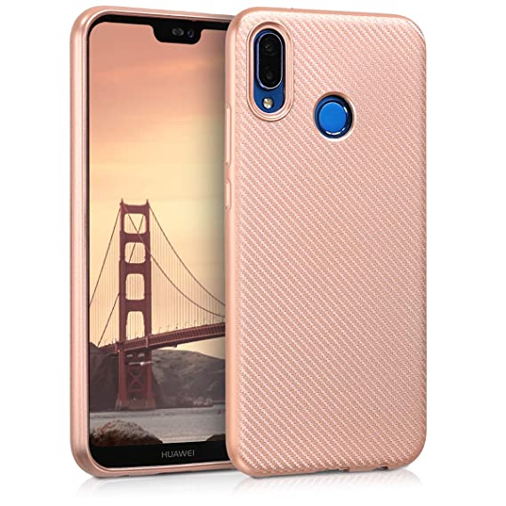 kwmobile TPU Silicone Case for Huawei P20 Lite - Soft Flexible Shock Absorbent Protective Phone Cover - Rose Gold