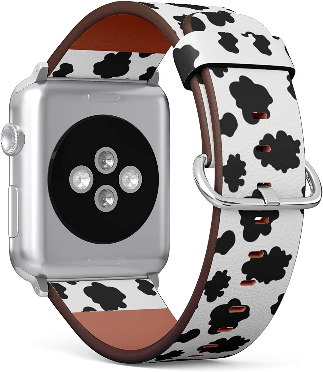 Lovely milk cow skin pattern - Patterned Leather Wristband Strap Compatible with Apple Watch Series 4/3/2/1 38mm/40mm