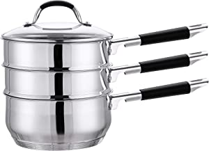 CONCORD 3 Quart Premium Double Boiler - Stainless Steel Multi Pot Steamer Cookware 2 Tiers (Induction Compatible)