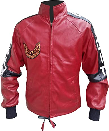 Mens Smokey and The Bandit Burt Reynolds Red Trans Am Leather Jacket 2XS to 3XL