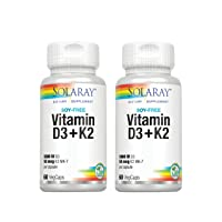 Solaray Vitamin D3 + K2 | D & K Vitamins for Calcium Absorption and Support for Healthy Cardiovascular | 60 CT | 2 pk