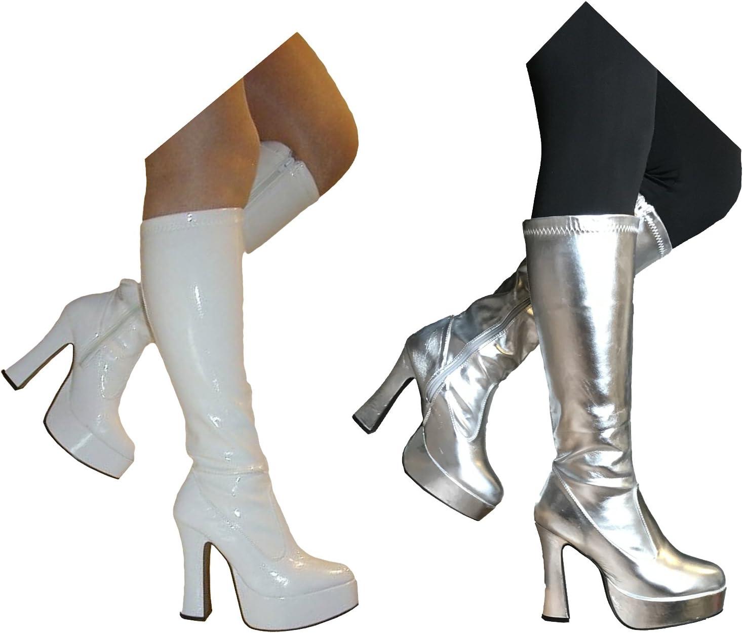 60S WHITE DISCO DANCER GO GO BOOT TOPS womens ladies fancy dress costume
