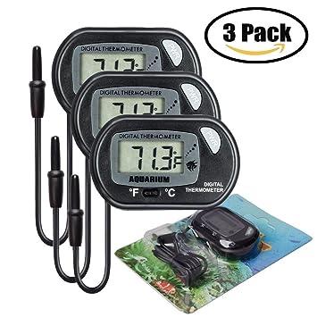 iRoundy Termómetro Digital LCD con ventosa para el terrario Acuario Vivarium -50 ~ + 70