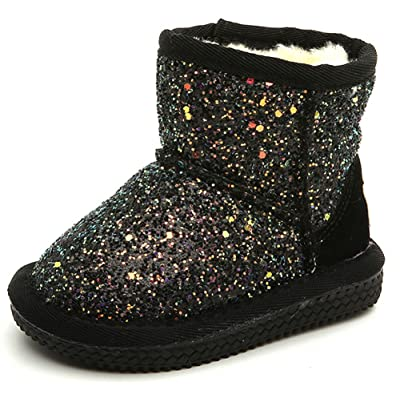 InStar Kids' Sequined Fleeced Ankle High Pull On Antiskid Snow Boots