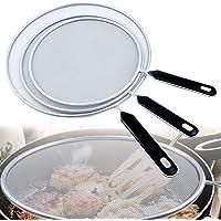 Grease Splatter Screen Mesh, 3 Pack Stainless Steel Grease Splatter Guard Oil Splash Guard for Kitchen Frying Pan…