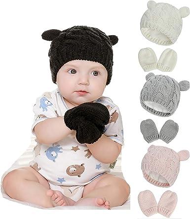 Fynnsure Baby Hat Glove Set Soft Newborn Mittens Baby Girl Boys Knitted Toddler Cap Infant Winter Beanie Mitten Sets