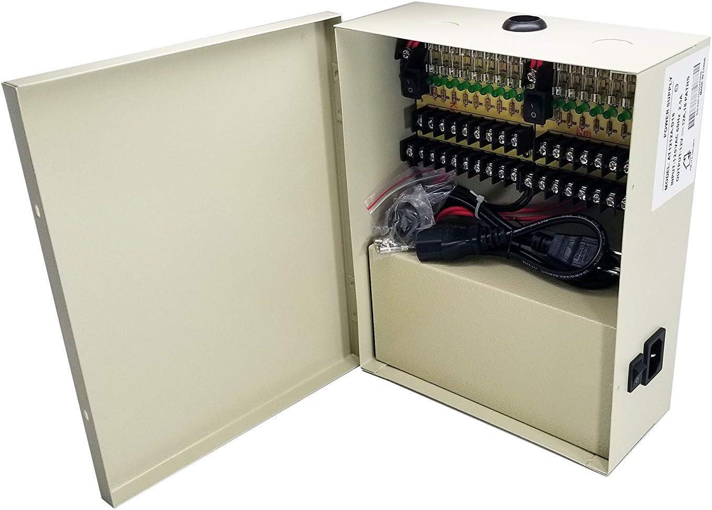 18 ch//amp/'s Fused Video Camera CCTV Power Supply BOX 12v DC 12 volt Transformer