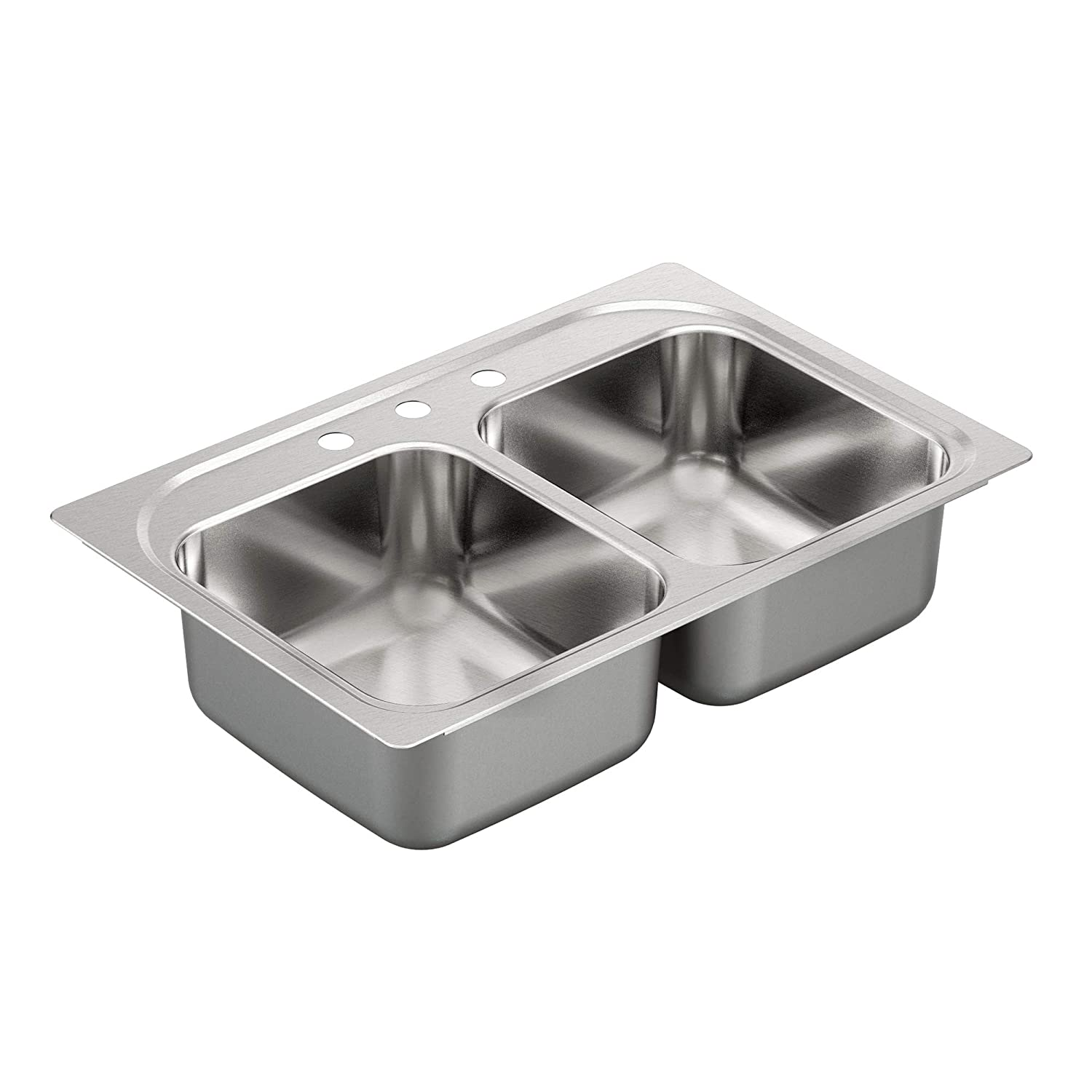 Moen G222133 2200 Series 22 Gauge Double Bowl Drop In Sink, Stainless Steel