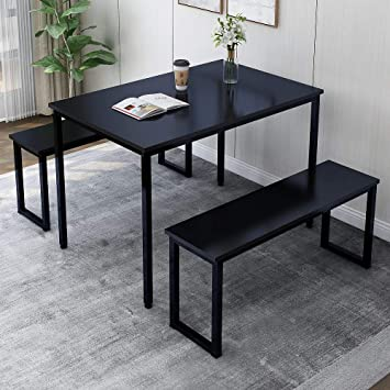 Amazon Com Rhomtree 3 Pieces Dining Set Table With 2 Benches Kitchen Dining Room Furniture Modern Style Wood Table Top With Metal Frame Balck Black Table Chair Sets