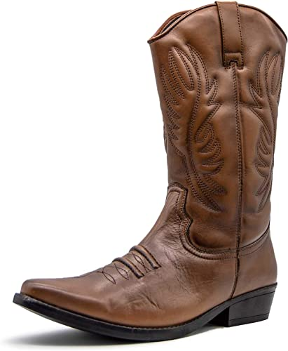 TALLA 40.5 EU. Mens Leather Cowboy Pull On Western Harness Cuban Heel Smart Ankle Boots UK 6-13