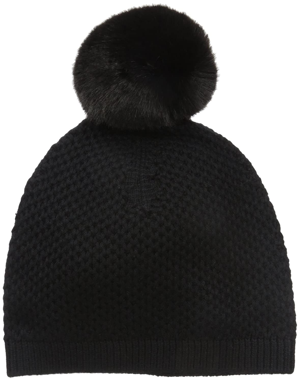 8d33a1008c1 Amazon.com: Badgley Mischka Women's Honeycomb Knit Beanie with Faux  Chinchilla Pom, Black, One Size: Clothing