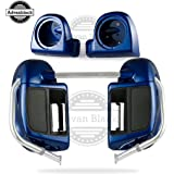 Superior Blue Rushmore Lower Vented Fairings Kit 6.5 inch Speaker Box Pods Fit for Harley Davidson