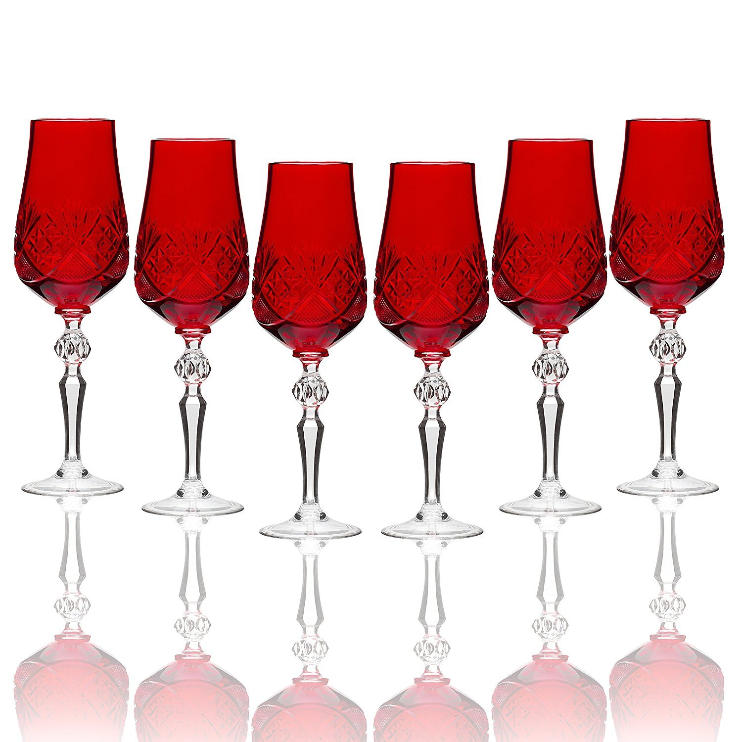 Red Handmade Russian Cut Crystal Stem Wine Glass Set of 6