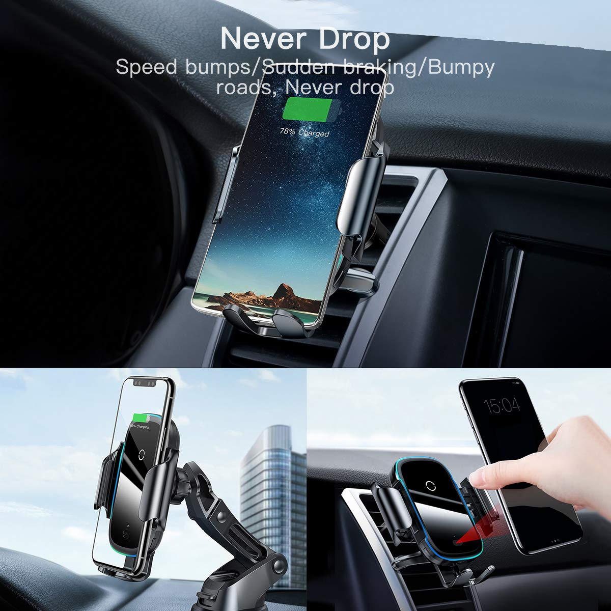Wireless Car Charger,15W Qi Fast Charging Auto-Clamping Car Mount,Windshield Dash Air Vent Phone Holder Compatible iPhone 11//11 Pro//11 Pro Max//Xs MAX//XS//XR//X//8//8+,Samsung S10//S10+//S9//S9+//S8//S8+