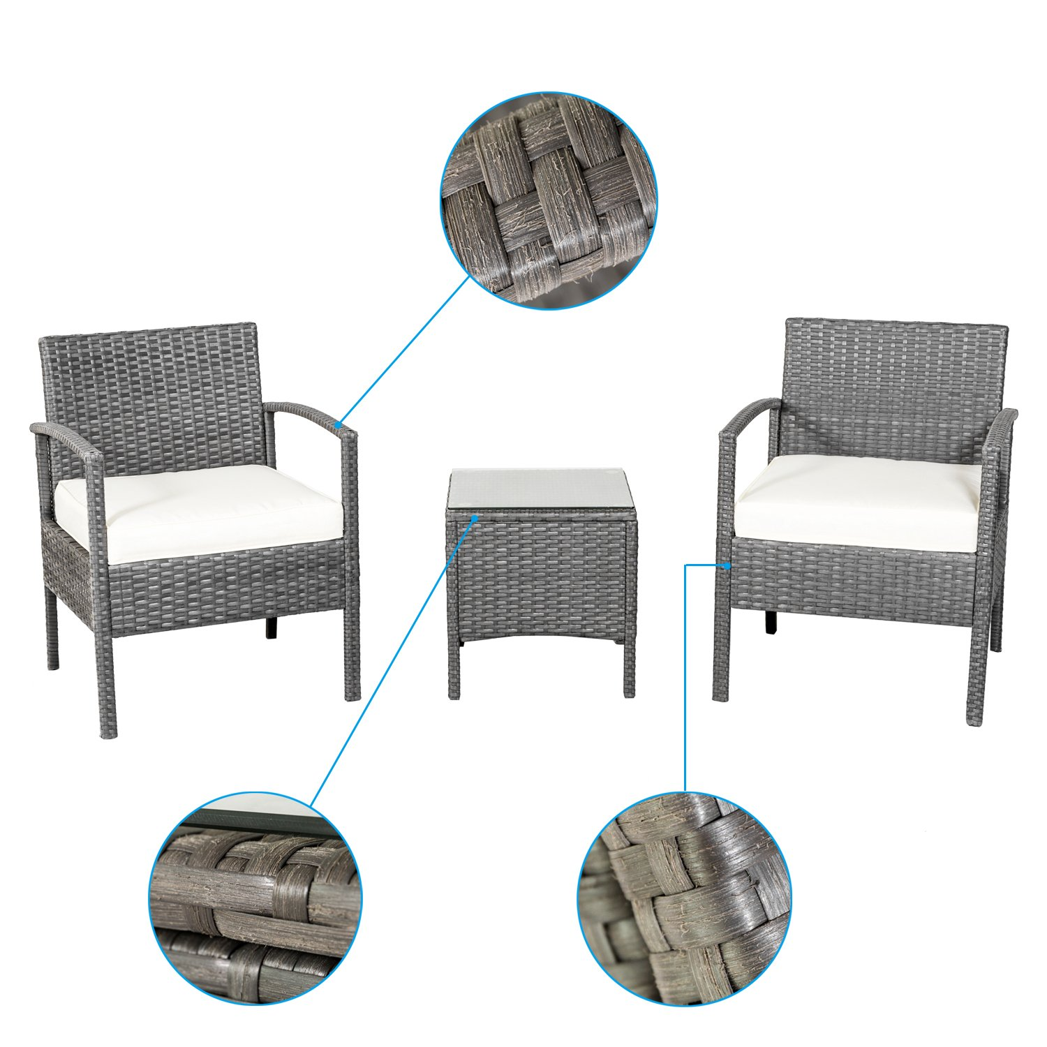 Remarkable Qjr 3 Piece Patio Furniture Set Rattan Table And Chairs Set Two Chairs With Glass Coffee Table Beutiful Home Inspiration Aditmahrainfo