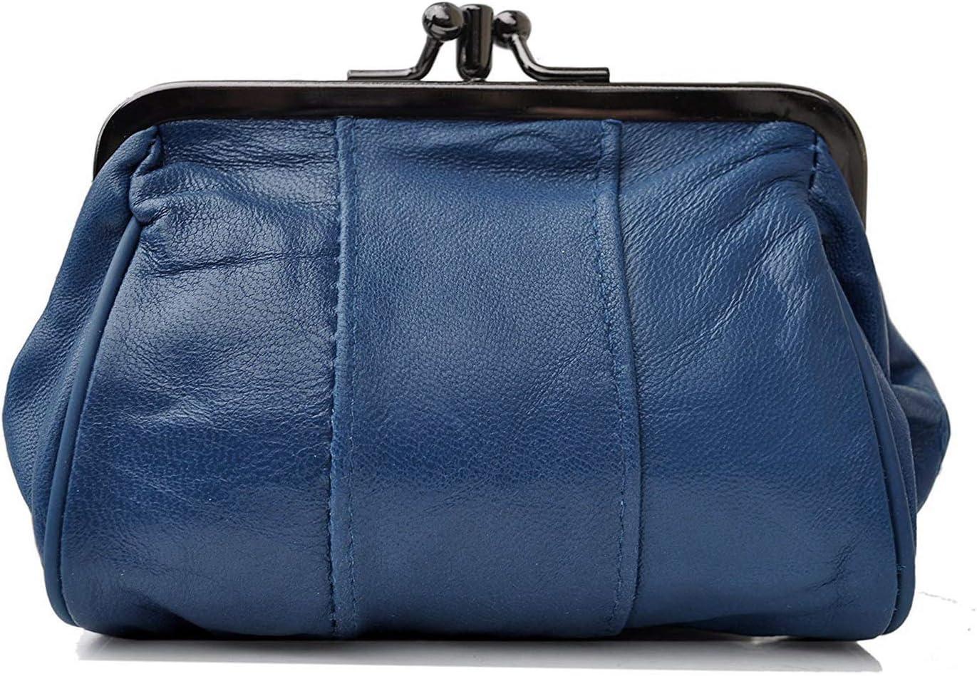 Fermoir clic clac en Cuir dagneau Femme Bleu Porte Monnaie 11 x 10 x 5 cm 2 Compartiments Sacha